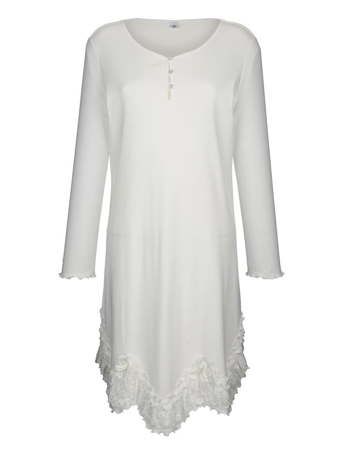 Simone Nočná košeľa s vlnitým ukončením, ecru