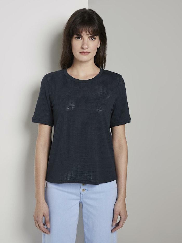 Tom Tailor mine to five T-Shirt mit Struktur, Sky Captain Blue