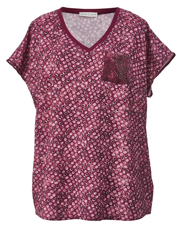 Blusen-Shirt mit Brusttasche aus Pailletten