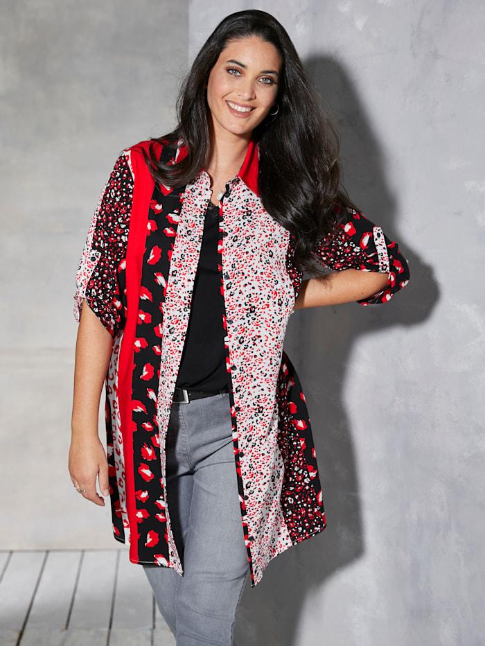 MIAMODA Lang bluse med oppbrettermer, Svart/Rød/Hvit