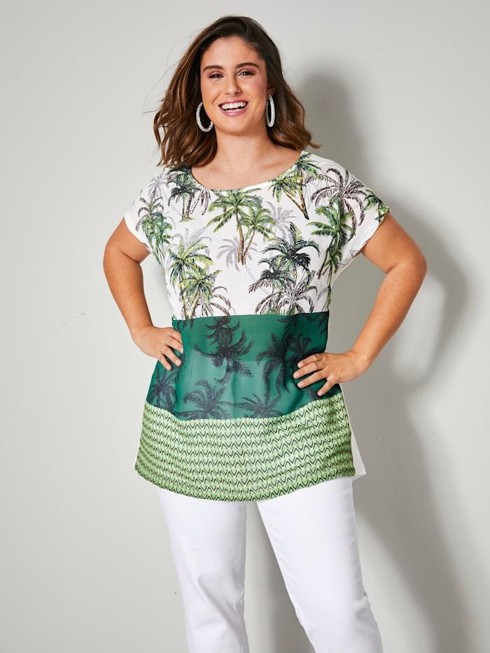 Sara Lindholm Shirt met palmendessin, Groen/Wit