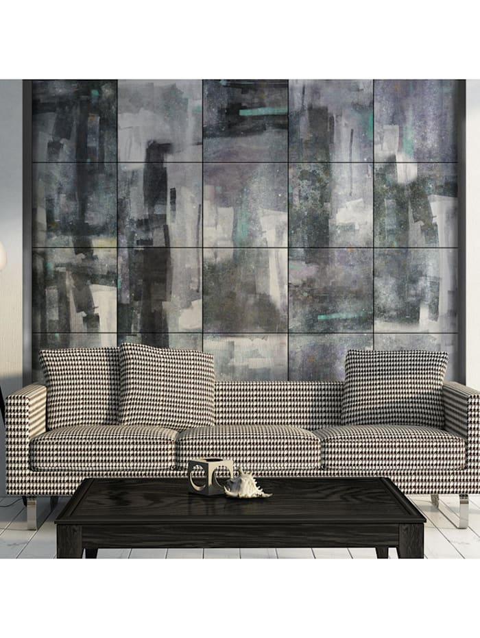 artgeist Fototapete Behind the wall of rain, Blau,Grau