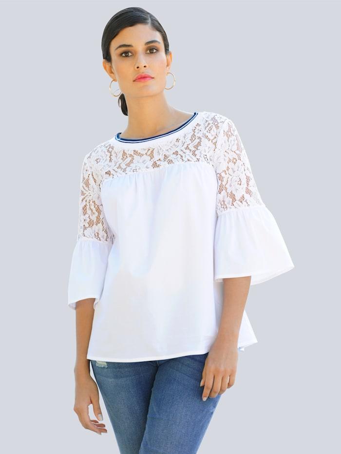 Alba Moda Bluse mit transparenter Spitze, Weiß/Marineblau
