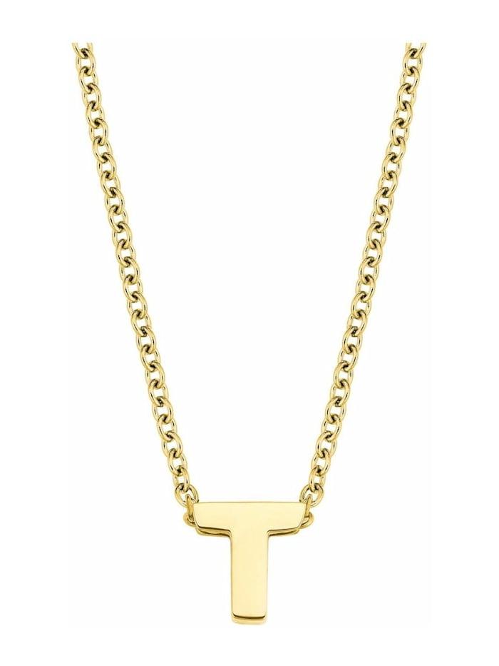 amor Kette mit Anhänger Unisex, Buchstabe T, Letter, Edelstahl gelbvergoldet, Silber