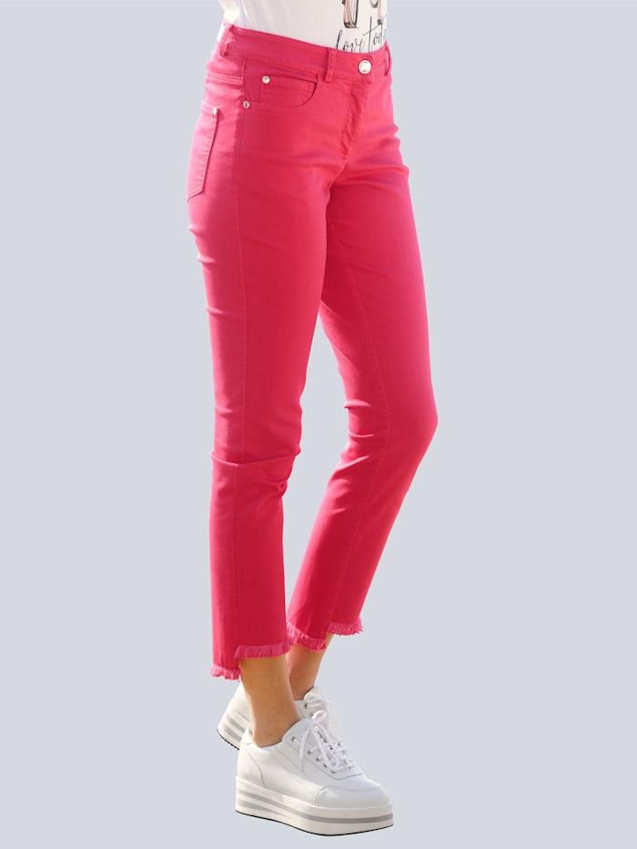 Alba Moda Jeans mit Fransensaum, Rot
