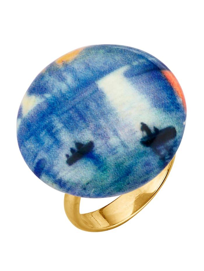 "Amara Argent Bague en verre de Murano ""Venise"", Bleu"