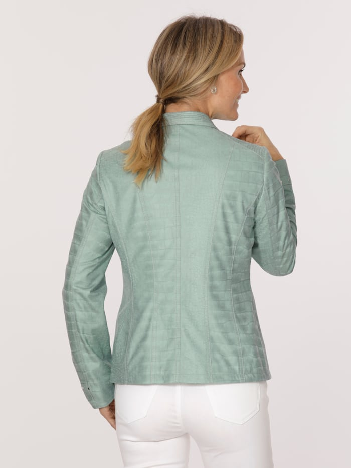 Faux leather blazer in an embossed fabric