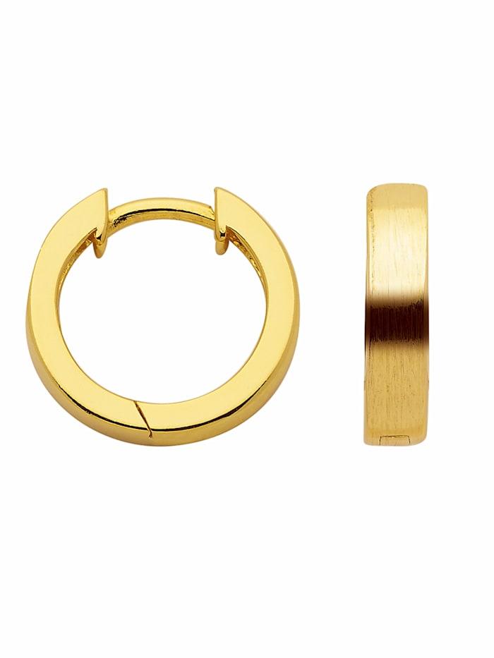 1001 Diamonds Damen Silberschmuck 925 Silber Ohrringe / Creolen Ø 13,8 mm, vergoldet