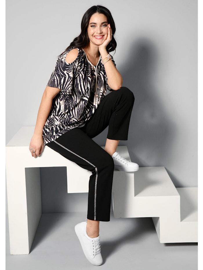 MIAMODA Shirt mit Schnürung am Ausschnitt, Schwarz