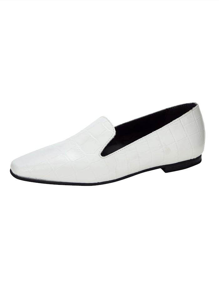 Loafer in edler Kroko-Optik, Weiß