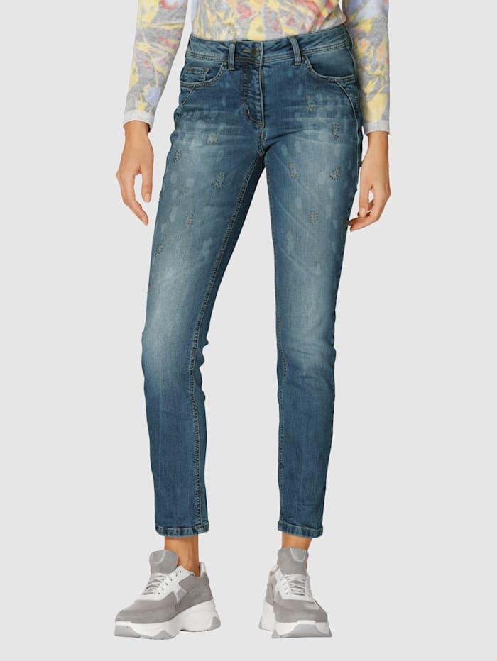 AMY VERMONT Jeans met animalprint, Blue bleached