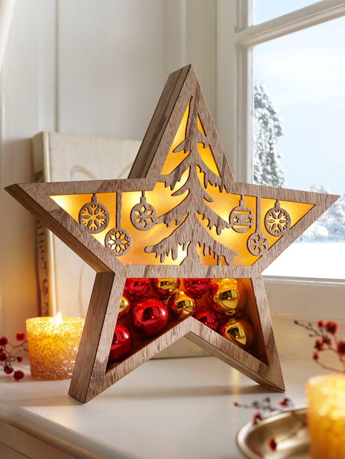 RK Étoile LED en bois, Marron