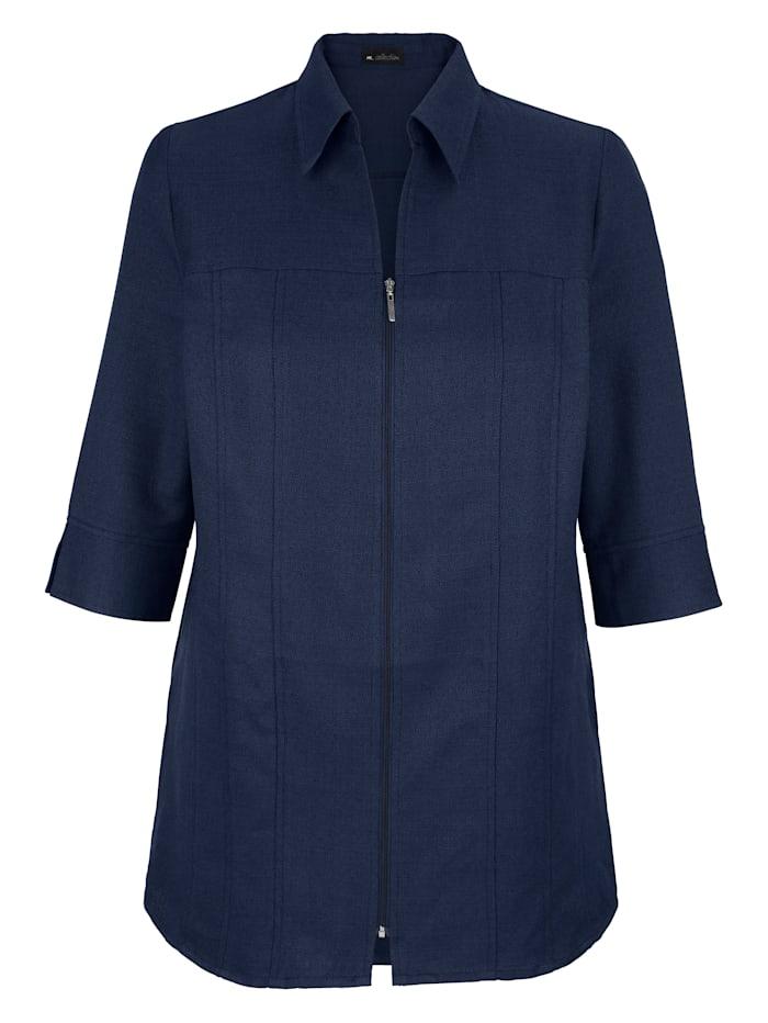 Halenkový kabátek s otevřeným košilovým límcem