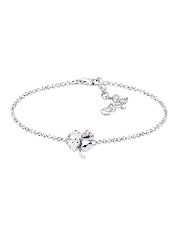 Elli Armband Kleeblatt Kristalle 925 Sterling Silber, Weiß