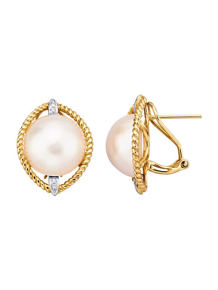 Amara Perle Ohrringe mit Mabé-Zuchtperlen, Weiß