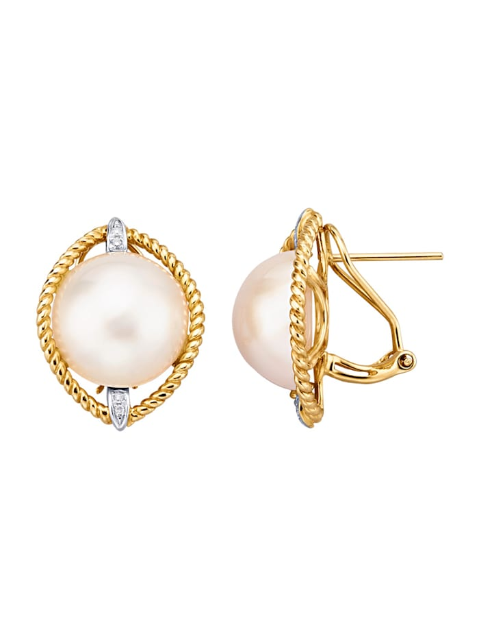 Amara Perles Boucles d'oreilles avec perles de culture Mabé, Blanc