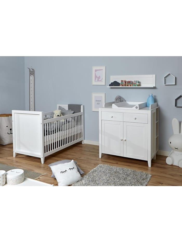 Ticaa Babyzimmer Rosa 4-teilig Massivholz Weiß gewachst, Weiß