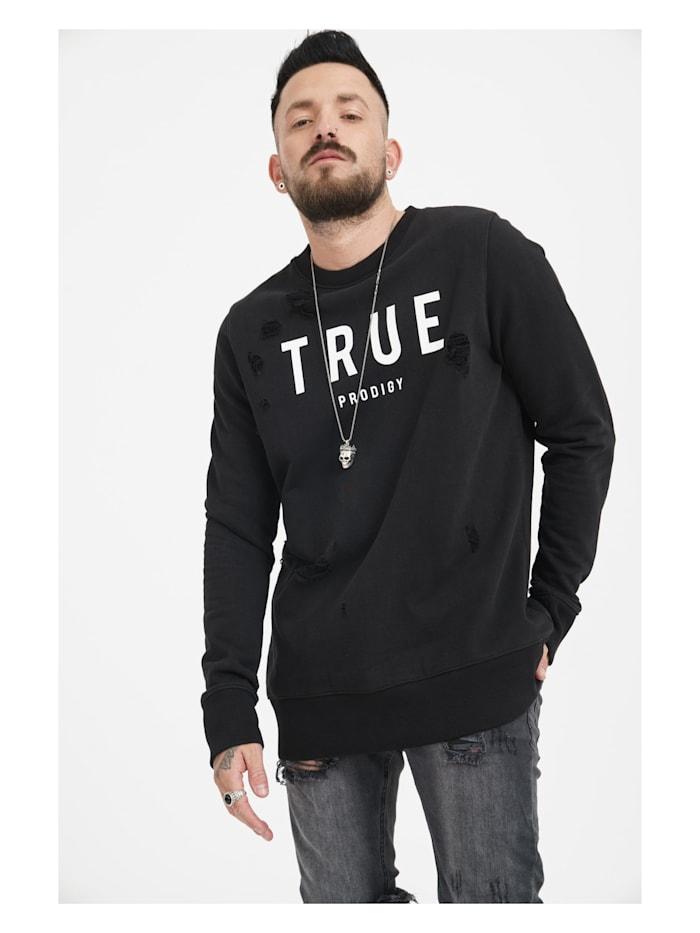 trueprodigy Sweatshirt Flash mit lässigen Used-Effekten, 2999-Black