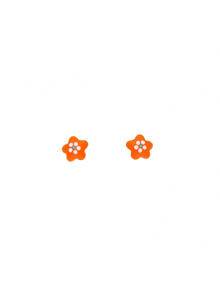 1001 Diamonds Damen Silberschmuck 925 Silber Ohrringe / Ohrstecker Blüte - orange, silber
