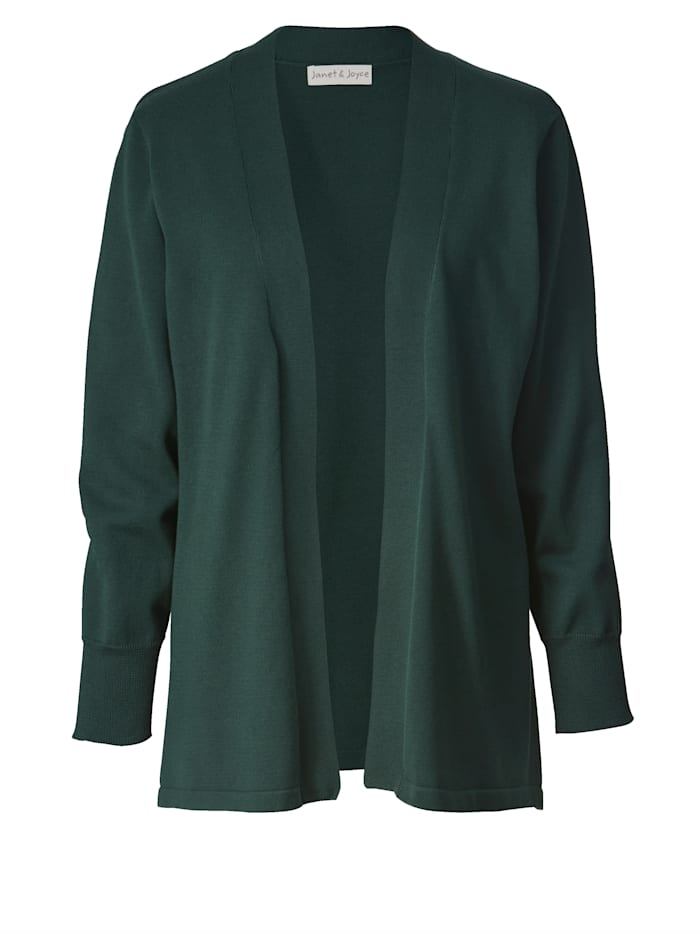 Janet & Joyce Basic vest in open model, Donkergroen