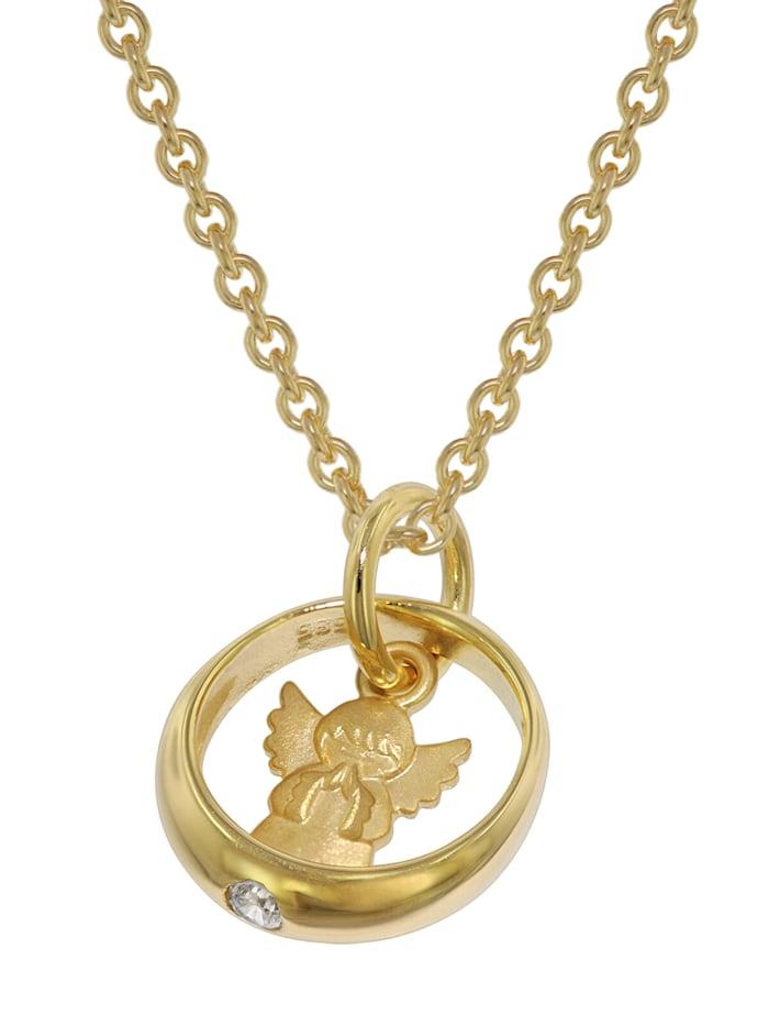 trendor Taufring mit Engel Gold 585/14 Kt + goldplattierte Silberkette, Goldfarben