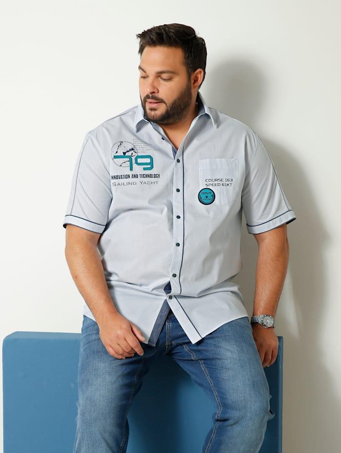 Men Plus Kurzarmhemd aus reiner Baumwolle, Hellblau