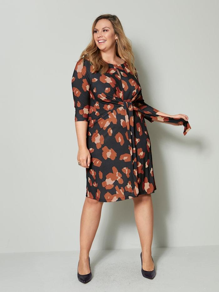 Sara Lindholm Jersey jurk met bloemendessin, Zwart/Beige