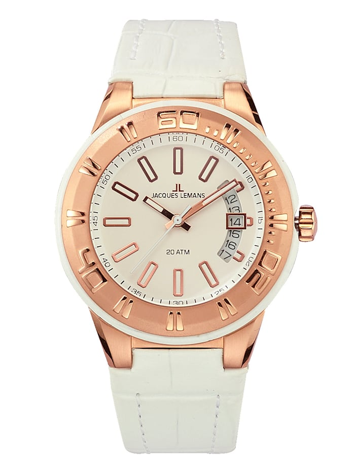 Jacques Lemans Dameshorloge Serie Miami 1-1771H, Wit/Roze