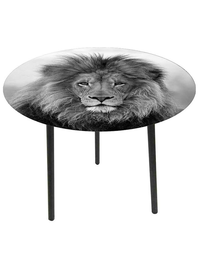 HTI-Line Beistelltisch Wildlife Löwe, Schwarz, Weiß