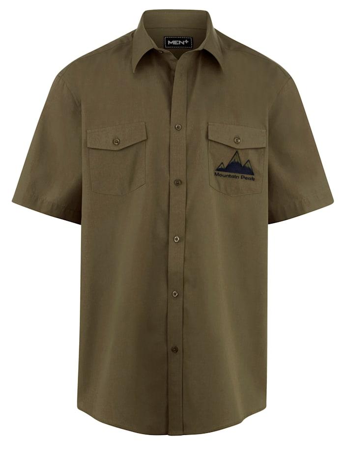 Men Plus Košile s krátkými rukávy rychleschnoucí, Olivová