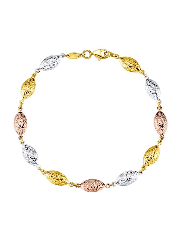 Armband in Gelb-,Weiß-,Roségold 375, Multicolor/Roségoldfarben/Weißgoldfarben