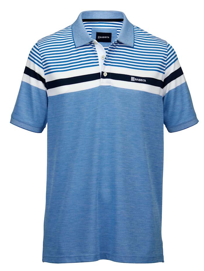 BABISTA Poloshirt in bicolor look, Blauw/Wit