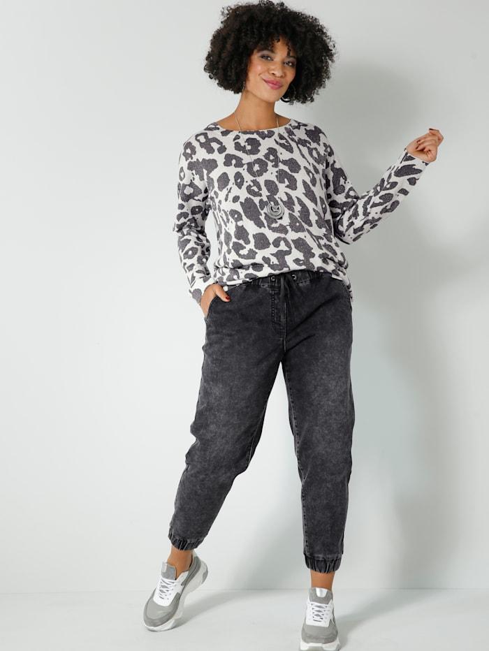Angel of Style Trui met trendy animalprint, Grijs/Zwart