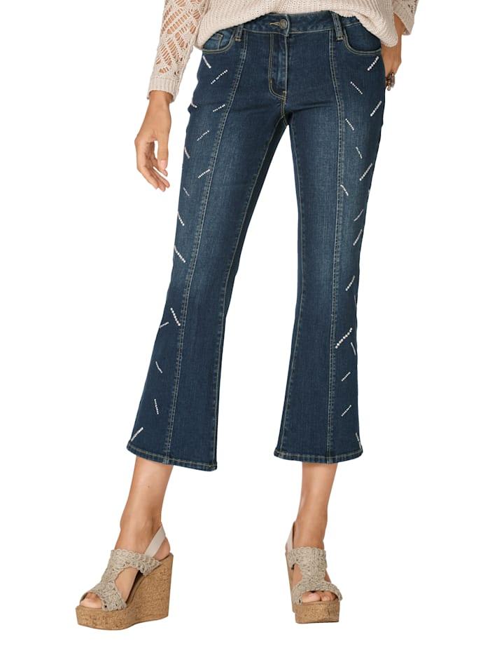 AMY VERMONT Jeans mit Strasssteindekoration, Blau