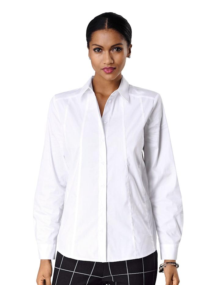 Alba Moda Overhemdblouse van mooi stretchmateriaal met fijne glans, Wit
