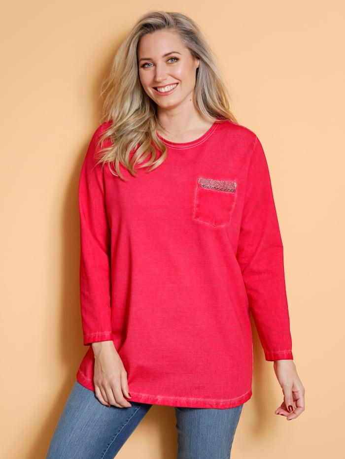 MIAMODA Sweatshirt mit geschmückter Brusttasche, Koralle