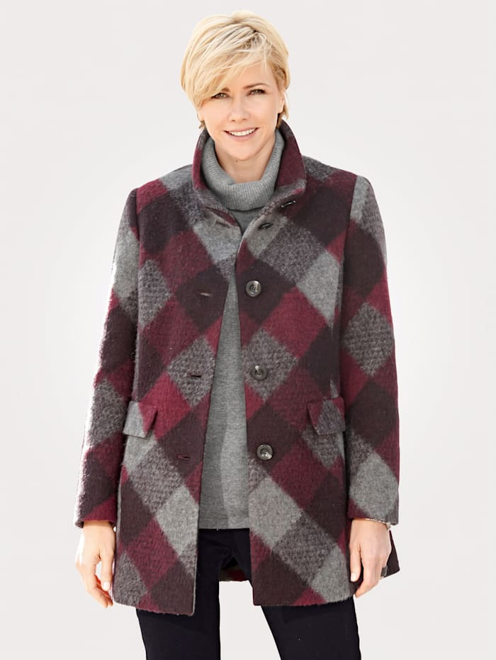 Wool-blend jacket with check pattern