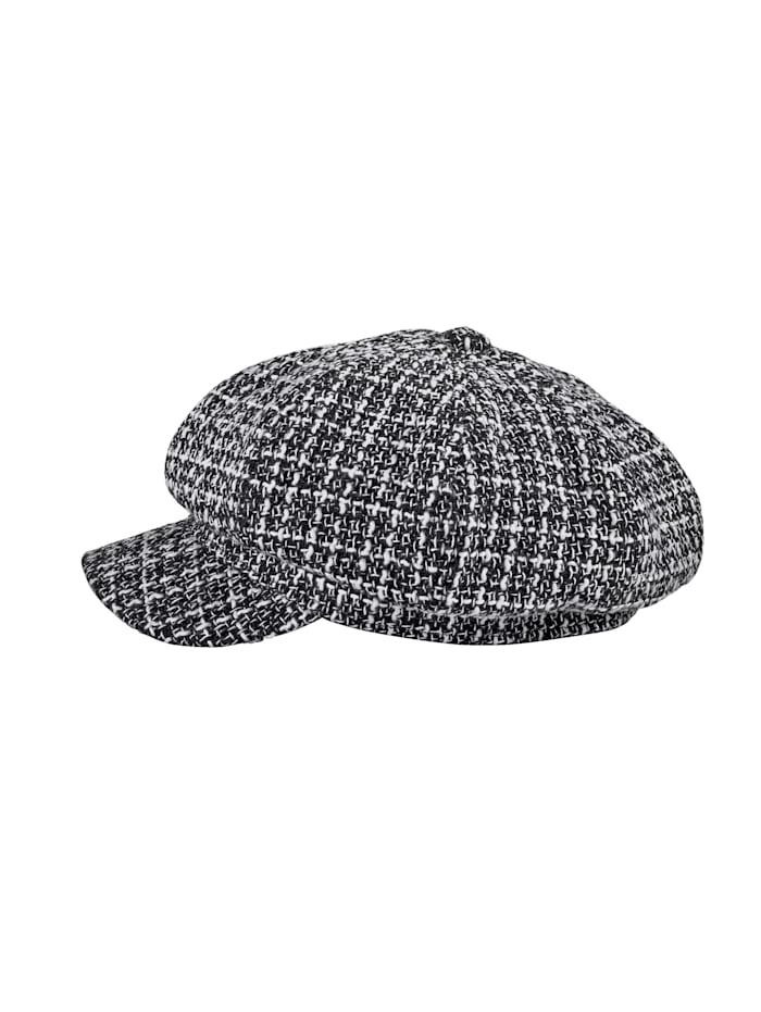 Baker boy hat in classic tweed, Black