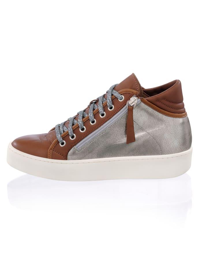 Alba Moda High Top-Sneaker im Optiken-Mix, Silberfarben/Cognac