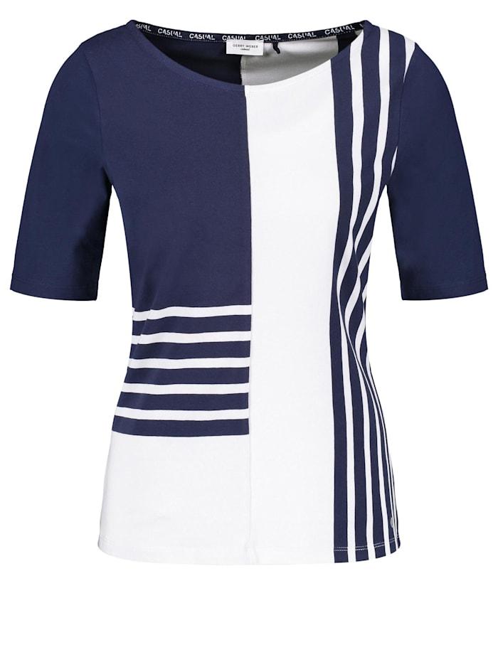 Gerry Weber Shirt mit Patchoptik organic cotton, Blau/Ecru/Weiss Ringel