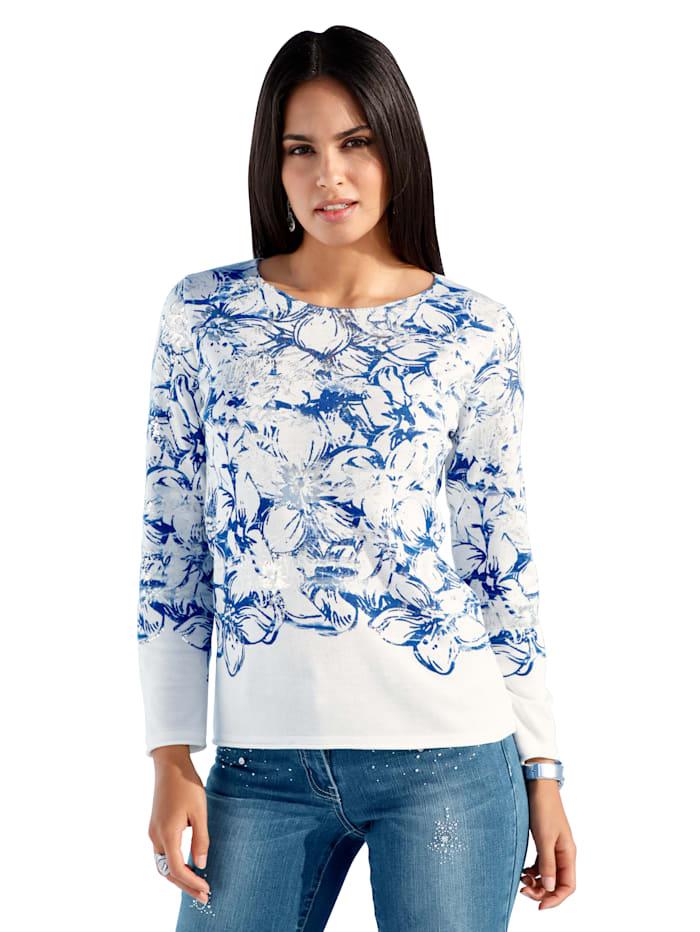 AMY VERMONT Tröja med blommönster och silverfärgat tryck, Offwhite/Blå
