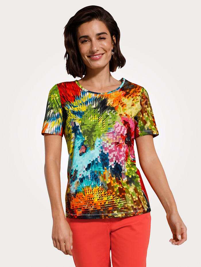 MONA Top in a graphic print, Red/Turquoise/Green