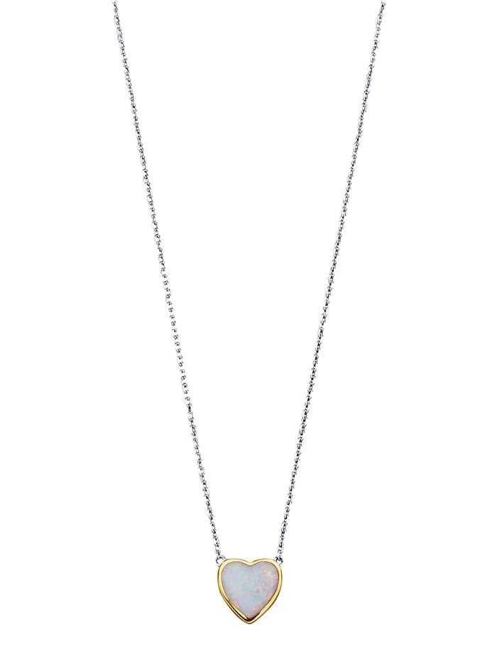 Collier avec opale d'imitation, Blanc