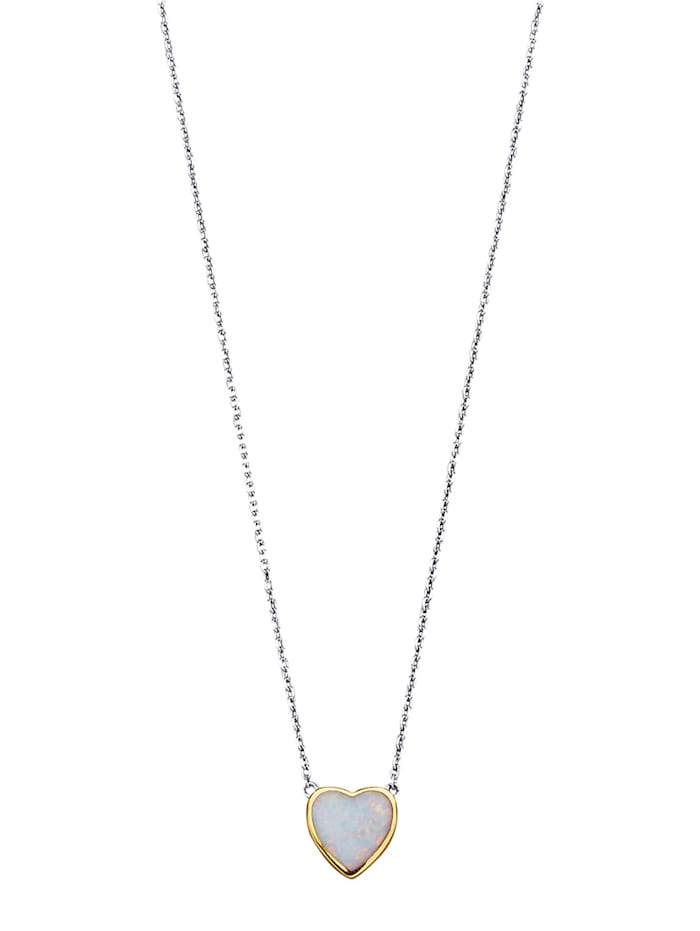 KLiNGEL Collier mit synth. Opal, Weiß