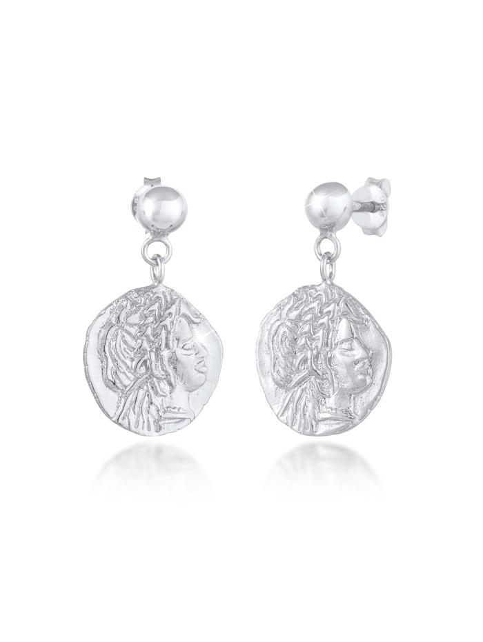 Elli Ohrringe Stecker Coin Münze Antikes Design 925 Silber, Silber