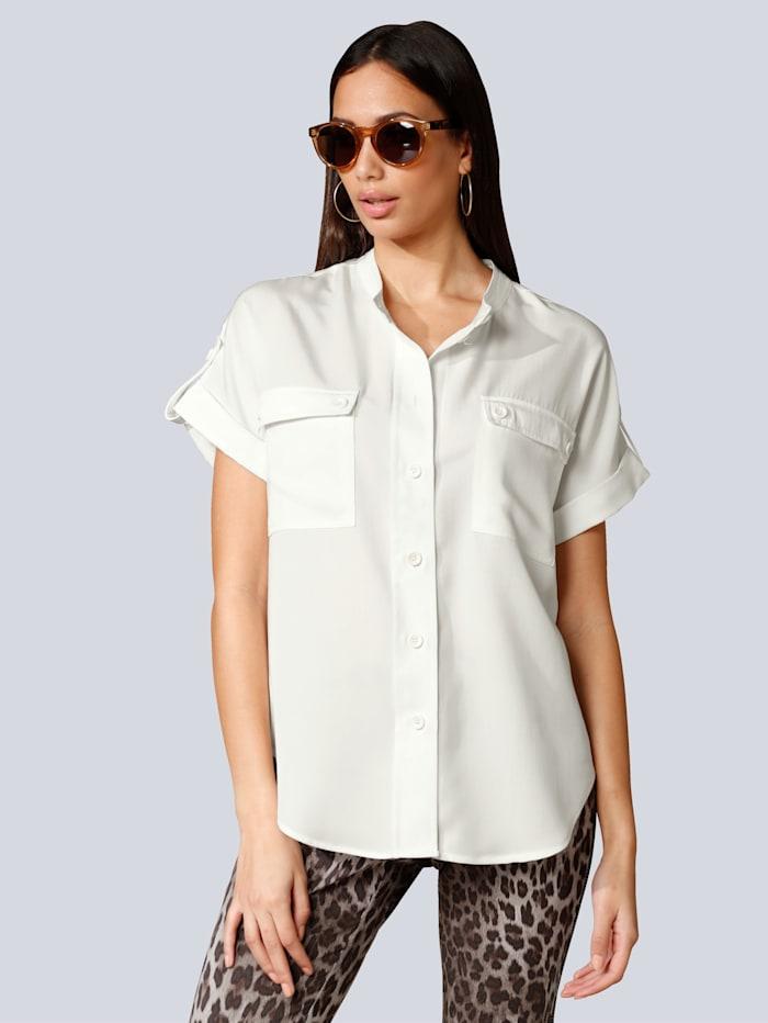 Alba Moda Bluse mit Brusttaschen, Off-white