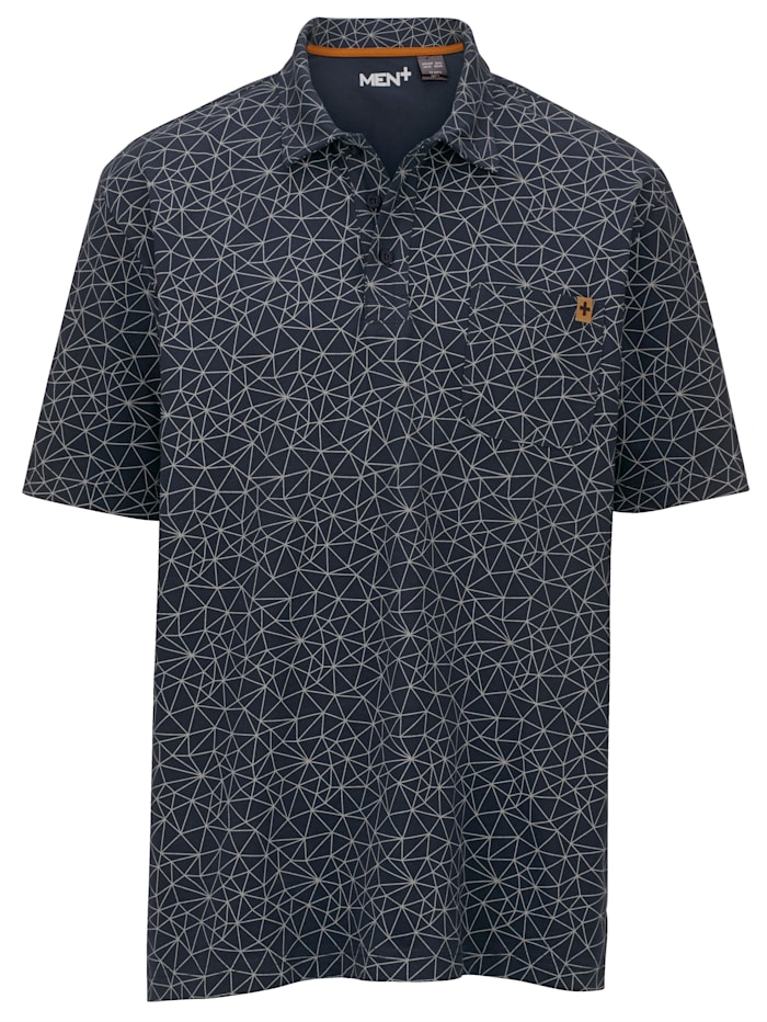 Men Plus Poloshirt aus reiner Baumwolle, Marineblau/Grau