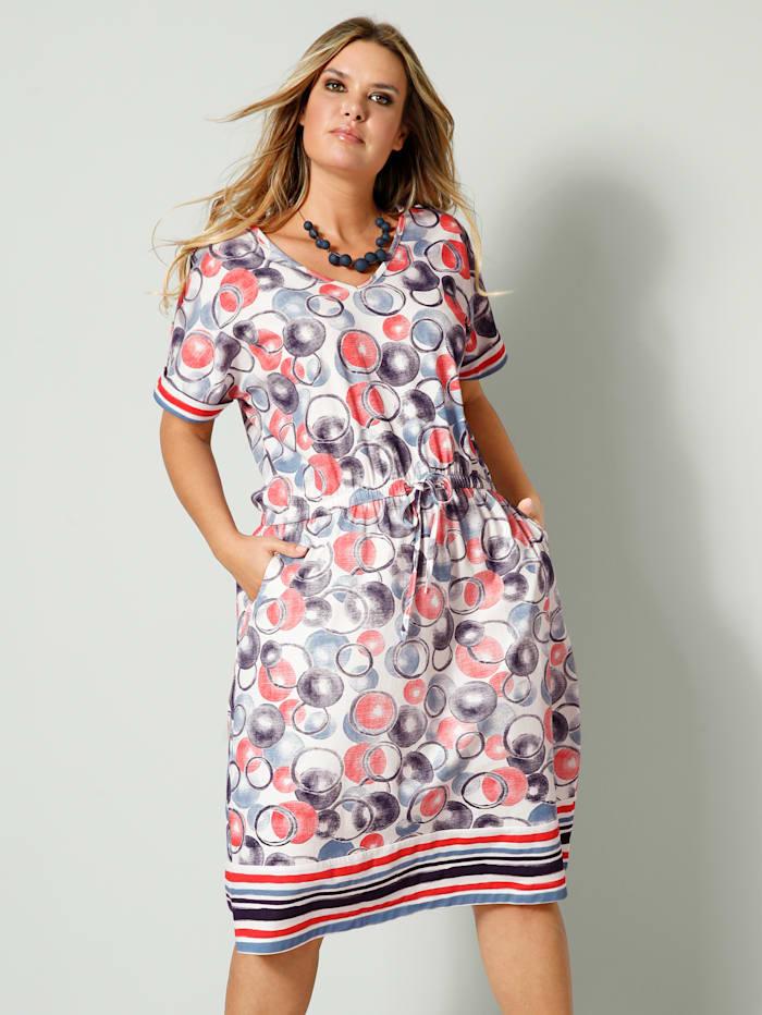 Janet & Joyce Džersej šaty s elastickým pásom a opaskom, Modrá/Biela/Koralová