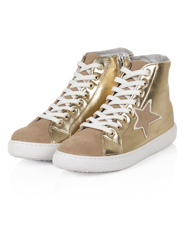 SIENNA Hightop Sneaker, Goldfarben
