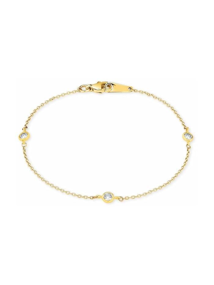 amor Armband für Damen 18 cm mit Anhängern 375 Gelbgold Zirkonia weiß, Gold